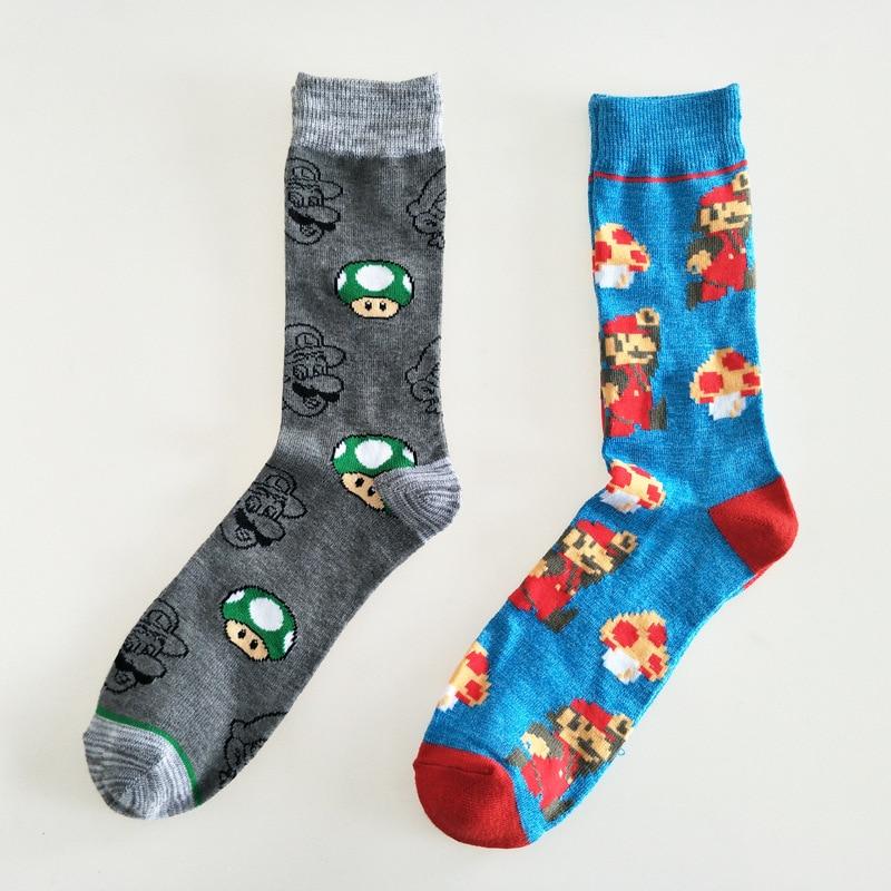 Cartoon Super Mario Print Socks Mushroom Fashion Personalized Novelty Men Sock Comfort Sweat Absorbent Happy Cotton Crew Socks