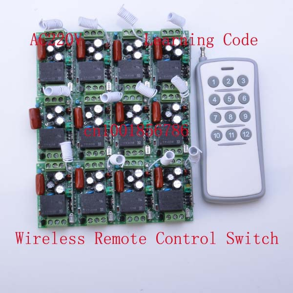 220V 12CH Radio Wireless Remote Control Switch 12 Receiver&1 transmitter Learning Codelight lamp LED ON OFF Output Adjusted mini 220v 1ch radio wireless remote control switch light lamp led on off 12 receivers