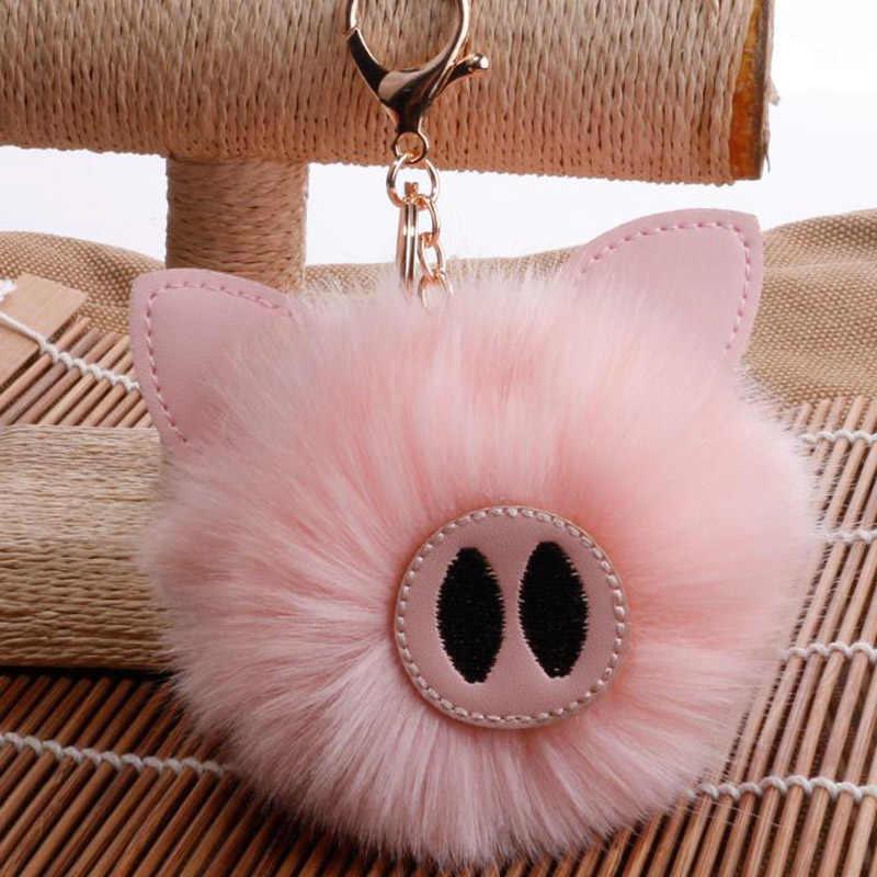 ... Fasnion pompom keychain Cute fur Key Chain faux Fur Keychains Fluffy Pom  Pom Keyring Bag Car ... 84f6841516
