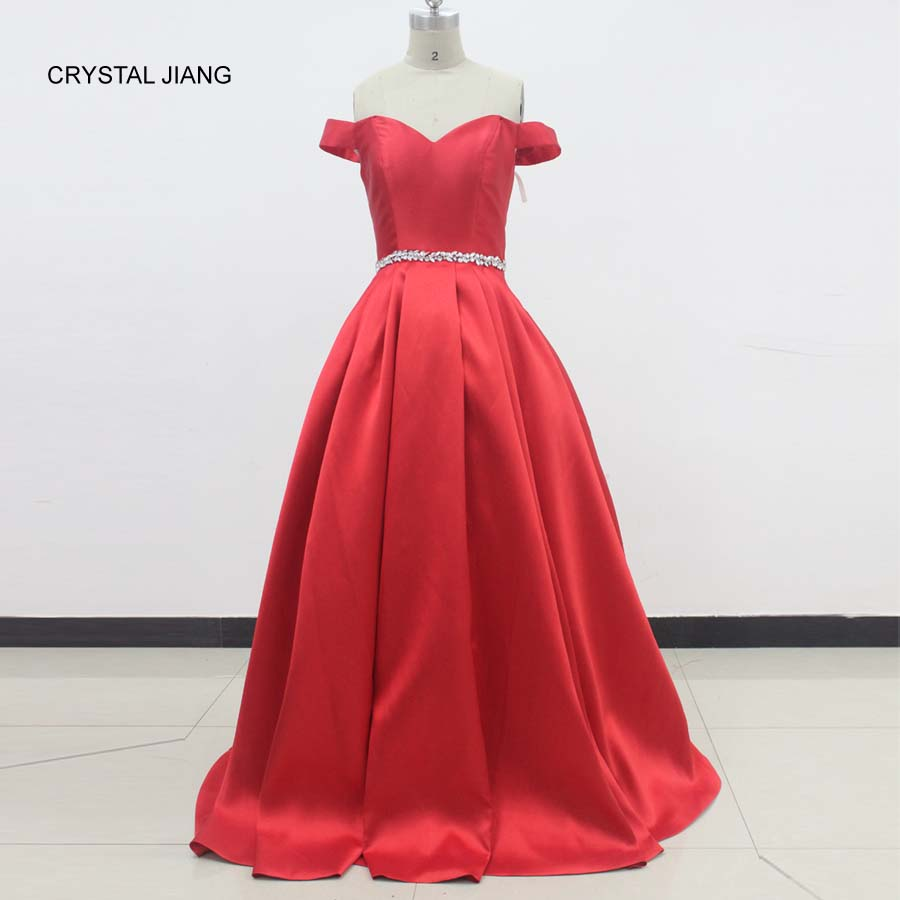CRYSTAL JIANG 2018 Sweetheart Waist Beaded Red Elastic Satin Custom made Ball Gown Formal Evening Dresses Long