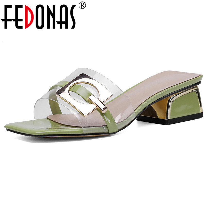 FEDONAS Fashion New Pumps Summer Square Heel Elegant High Heels Prom Party Shoes Woman Quality Sequined