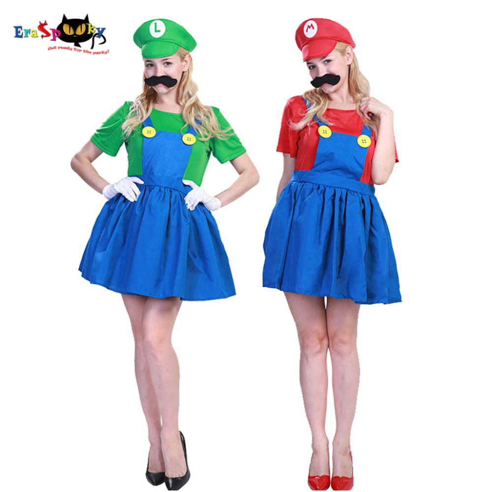 Eraspooky Party Dress Funny Super Mario Luigi Brothers Costume Adult Halloween Costume for Women Anime Cosplay Fancy Dress 2018