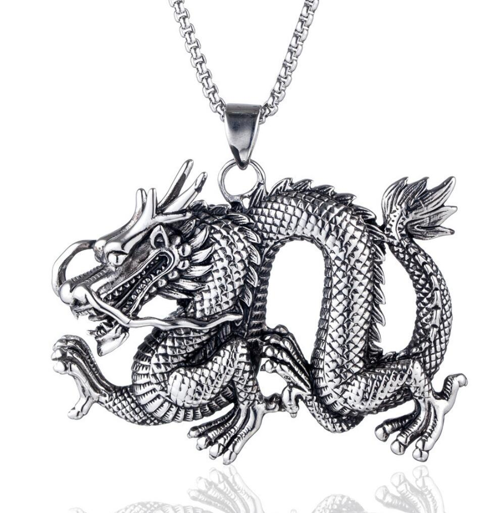 charming Retro Punk Gothic Metrosexual Silver  kylin dance dragon skull Necklace Pendant