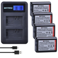 4pc 2000mAh NP FW50 NP FW50 FW50 Li ion Battery+LCD USB Dual Charger for Sony Alpha a3000,a5000,a6000, a6300, a6400,a6500
