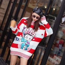 2630cd958a Cartoon Girl Patchwork Design Sequins Sweater Contract Color Blocked  Knitted Tops Plus Size Loose O-Neck Warm Pullovers Sweater