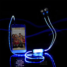 In-ear LED Light Flashing Pulse Glow Sport Earphone 3.5mm Glowing Cable Headset with Mic Luminous Earpiece for Mobile Phone