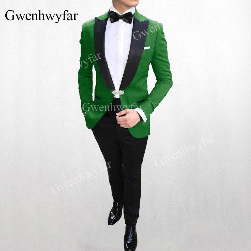 Erkek Kıyafeti'ten T. Elbise'de G V Erkek Takım Elbise Düğün Damat Kaliteli Resmi Erkek Takım Elbise 2 adet (Ceket + Pantolon) 2019 Custom Made Siyah Yaka Smokin'da  Grup 1