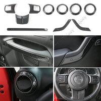 Carbon Fiber Grain ABS Dashboard Steering Wheel Air Vent Door Handle Decor Cover Frame Trim for Jeep Wrangler 2 Door 2011 2016
