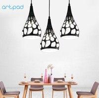 Artpad Modern Minimalism Dining Room Kitchen Pendant Lights E27 Black White Hollow Metal Lampshade Decorative Hanging