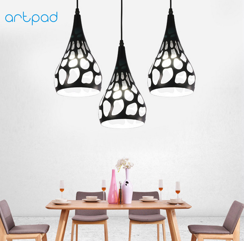Artpad Modern Minimalism Dining Room Kitchen Pendant Lights E27 Black White Hollow Metal Lampshade Decorative Hanging Lamp modern minimalism painted metal windmill