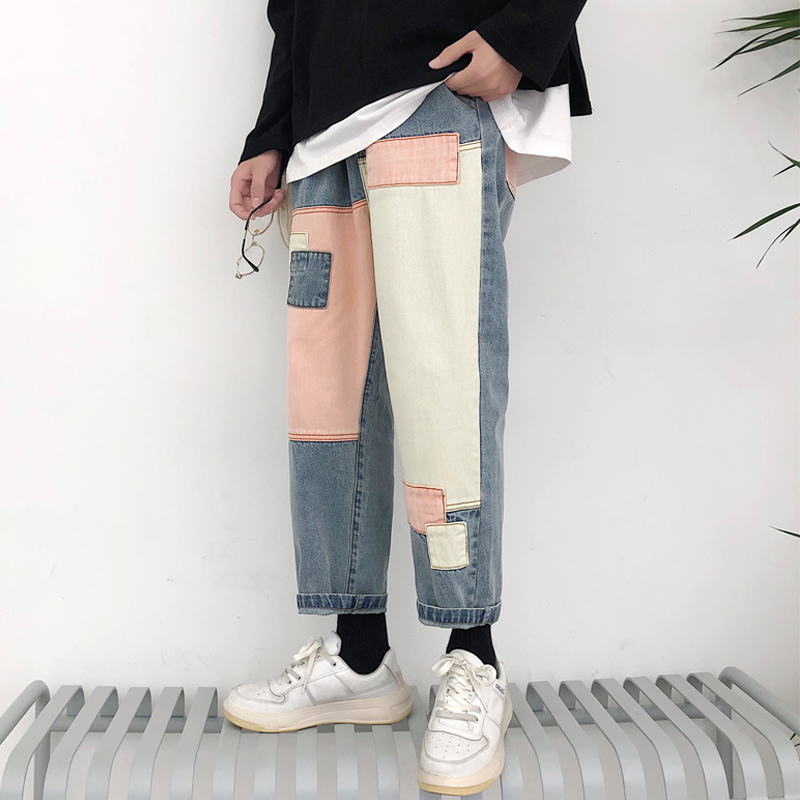 2019 Summer Men's Wide Leg Pants Patch Baggy Homme Casual Pants Cargo Pocket   Jeans   Biker Denim Blue Color Trousers Size S-2XL