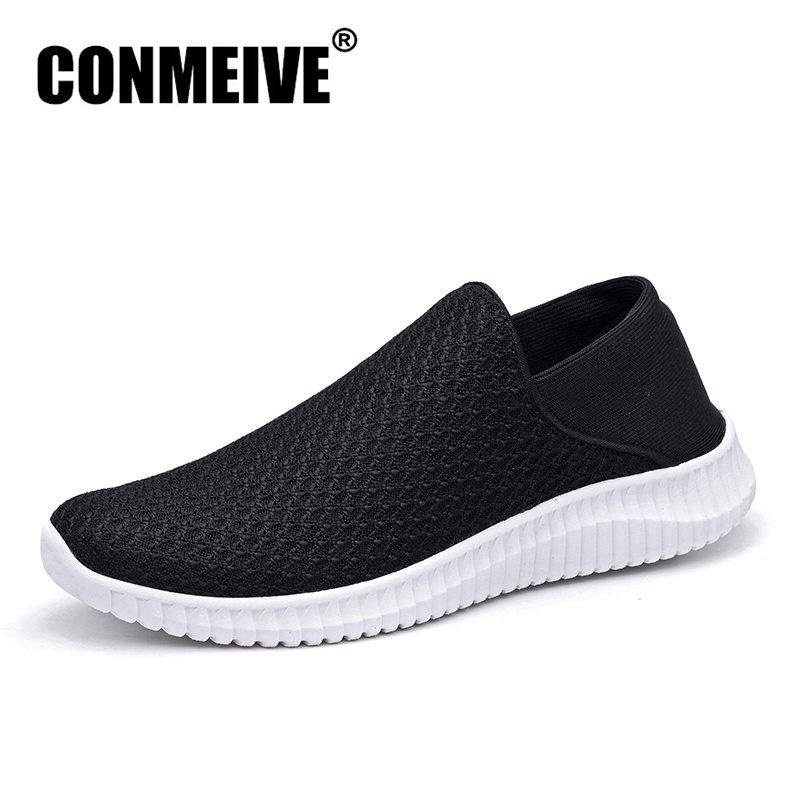 CONMEIVE Breathable Mesh Shoes Men Summer Man Sneakers Light Slip-on Mens Casual Loafers Fashion Brand Designer Black Flat Shoe стоимость