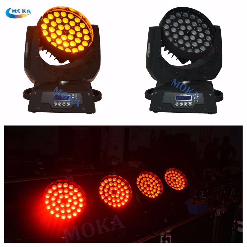 6Piece /lot Fly case with Zoom Led moving head light 36*18W RGBWA+uv color led wash light for DJ stage