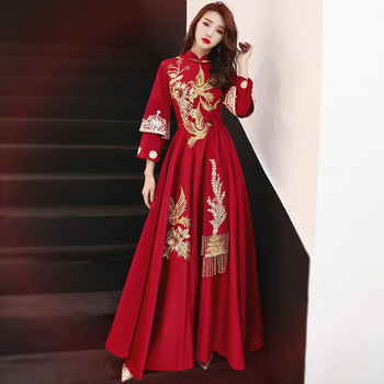 Chinese Traditional Embroidery Long Cheongsam Dress Vestidos Chinos Oriental Qipao Evening Gowns Classic Party Dress Size S-XXL