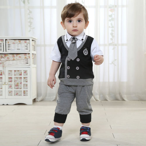 Details About Baby Boys Kids Wedding Party Tie Suit Toddler T Shirt Tops Clothes Pants