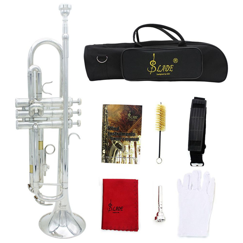 Trumpet Bb B Flat Durable Brass Trumpet 9 Pcs/set with a Silver-plated Mouthpiece a Pair of Gloves Exquisite Gig Bag 2 Colors цена