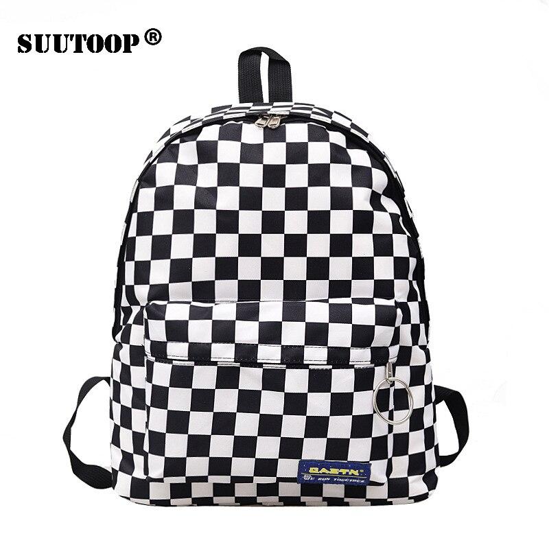 2019 unissex xadrez náilon feminino viagem daypack portátil mochila livro mochilas escola feminina casual mochila feminina rugzak