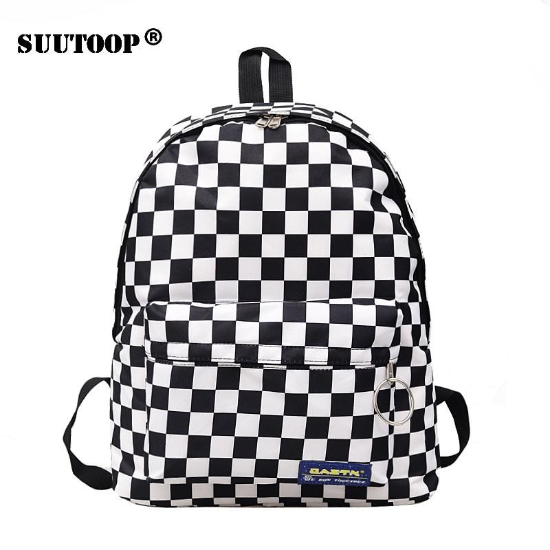 2020 Unisex Plaid Nylon Female Travel Daypack Laptop Backpack Book Schoolbags Feminina School Casual Rucksack Women Bag Rugzak