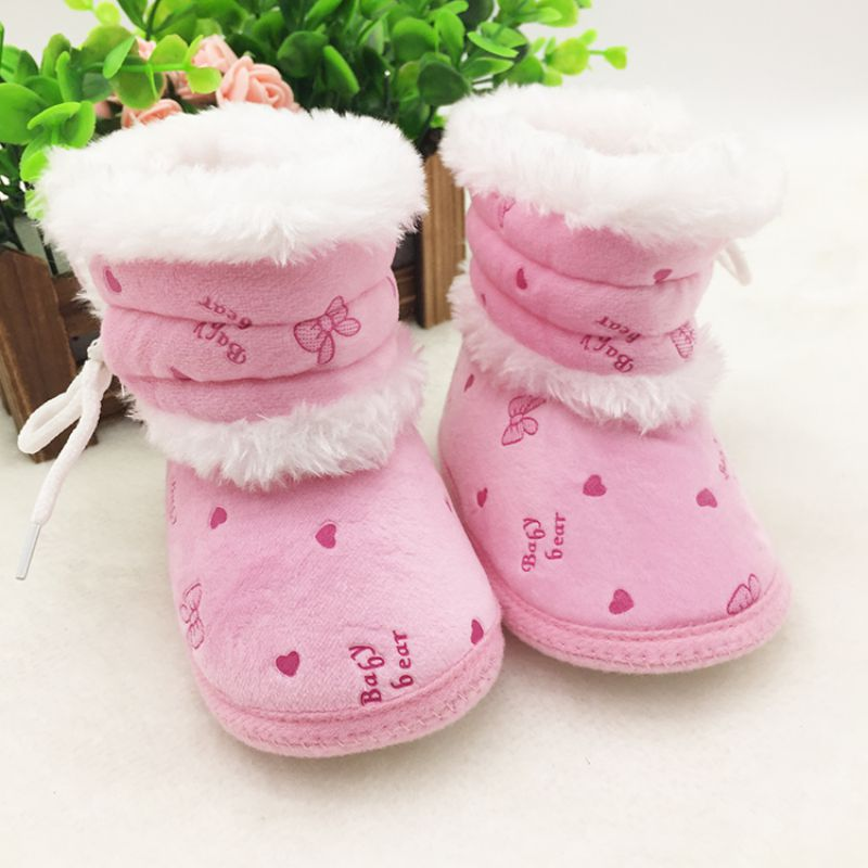 Fashion 0 18 Months Prewalker Baby Girls Winter Snow First Walker Boots Infant Solid Lace Up