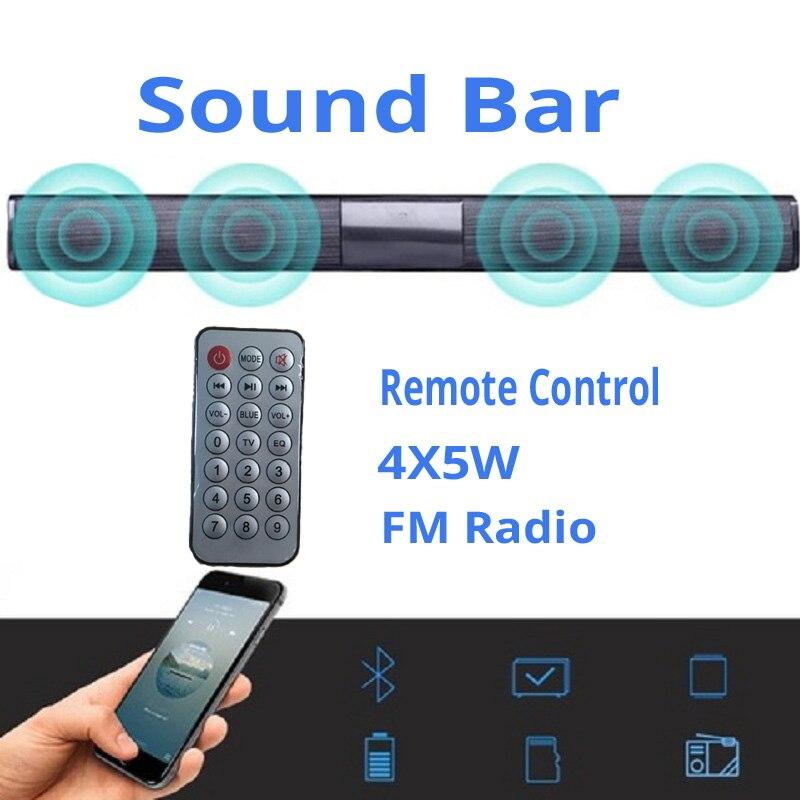 20W Soundbar Bluetooth Speaker Sound Bar TV Computer Bass Wireless Speaker Column USB AUX Radio Music Player Boom Box+Controler