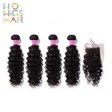 WoWigs Hair Malaysian Hair Remy Hair Curly Hair 4 / 3 Bundles Deal With Top Lace Closure  Natural Color 1B недорго, оригинальная цена