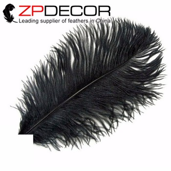ZPDECOR 100pcs/lot 30-35cm(12-14inch)Hand Fluffy and Smooth Bleached Black Ostrich Feathers for Wedding Decoration Feathers