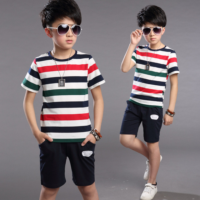 Boys Child Children Wear New Summer Suits Short Sleeved T-shirt-short Kids Clothing Sets Two Pieces Stripe Cotton