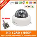 Hd 960p Poe An-vandal Dome Ip Camera Onvif Infrared Cctv Surveillance Security Indoor Cmos Night Vision Freeshipping Hot Sale