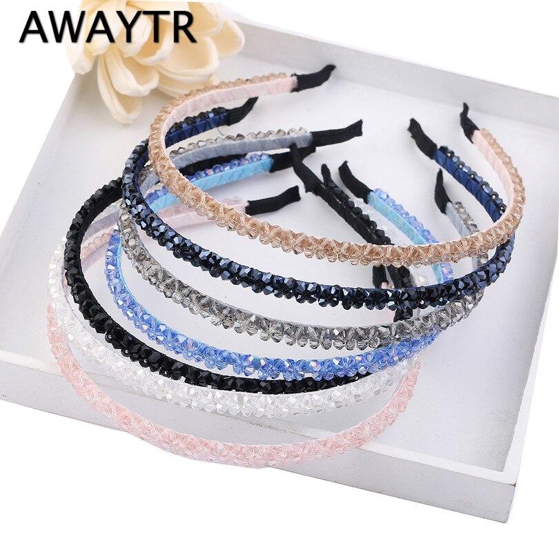 AWAYTR Crystal Beaded Hair Band 2019 Fashion Headwear Girl Women Handmade Hair  Accessories Headwear Pearl Flower Headband
