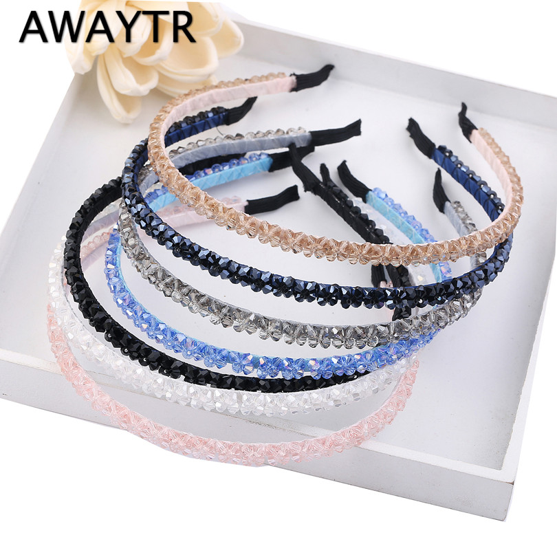 AWAYTR Crystal Beaded Hair Band 2019 Fashion   Headwear   Girl Women Handmade Hair Accessories   Headwear   Pearl Flower Headband