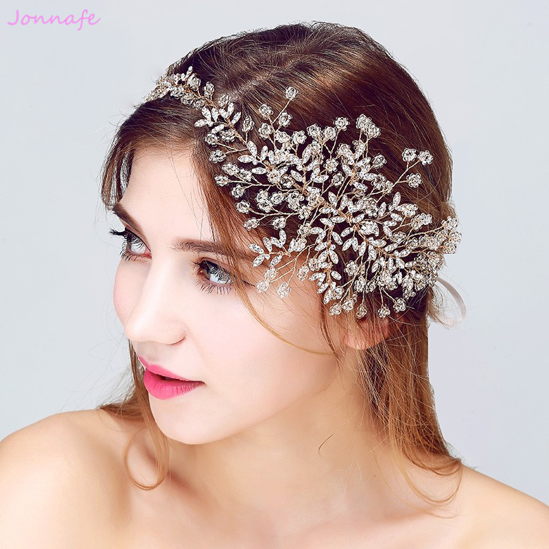 Jonnafe Tiny Beaded Blossoms Tiara Wedding Headpiece Hair Vine Accessories Gold Bridal Headband Handmade Women Hair Jewelry цена