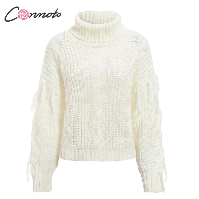 Conmoto Solid Deep Gray Casual Women Sweaters 19 Winter Turtleneck Knitwear Sweater Oversized Tassel Knitted Pullovers Jumpers 14
