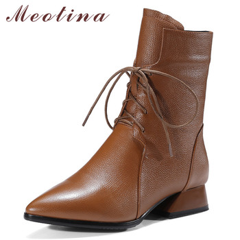 Meotina Fall Ankle Boots Women Natural Genuine Leather Block Heels Short Boots Zipper Pointed Toe Shoes Female Winter Size 34-42