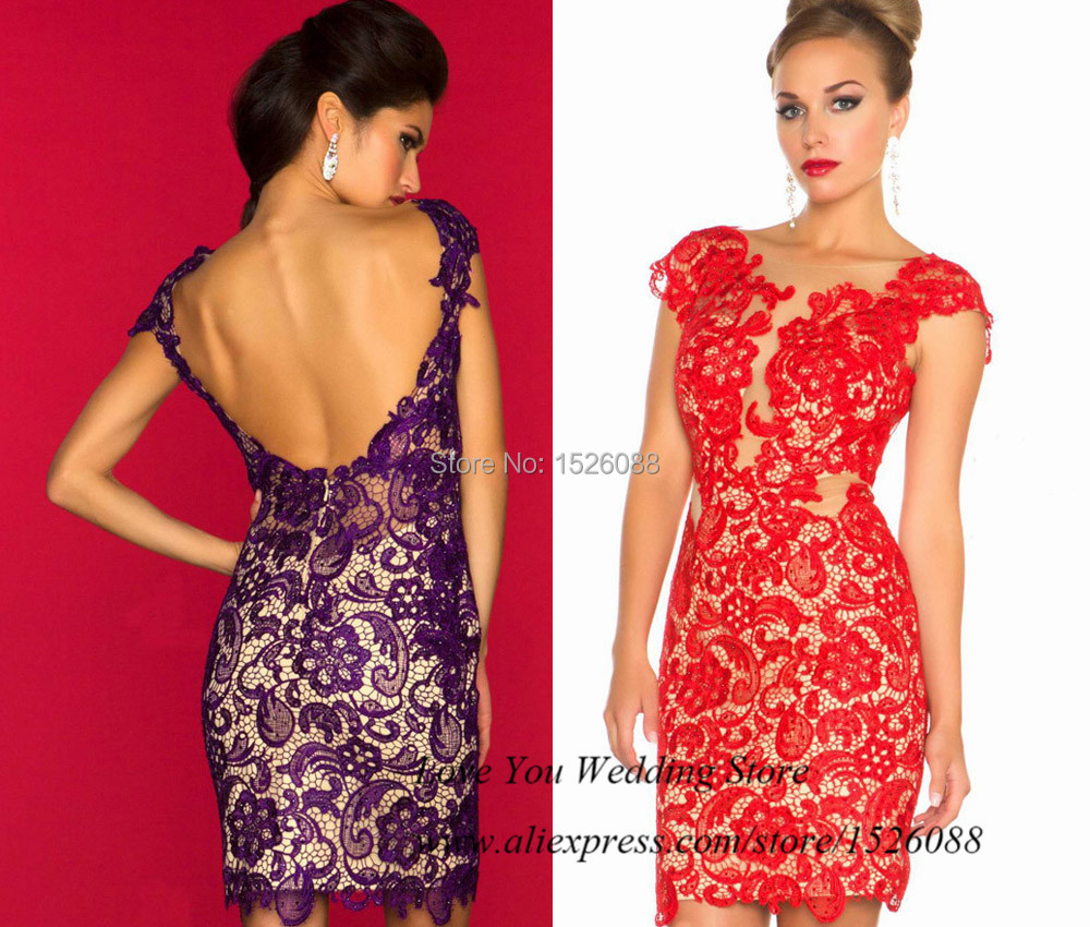 0740c184ccc9 2015 Christmas Purple Red Lace Cocktail Dresses Cap Sleeve Backless Short Party  Dress New Years Eve Dresses Vestido Curto Festa