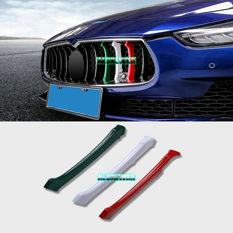3 Colors 3D Car-styling Front Grille Grills Trim Strips Cover Performance Decoration Stickers For 2014 To 2017 Maserati Ghibli