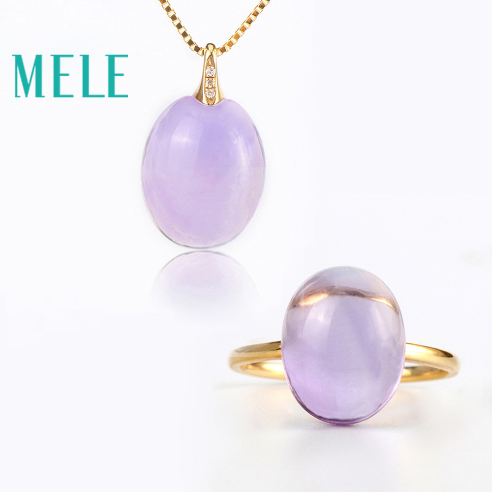 Real 18K gold natural amethyst ring and pendant suit for women Oval cut big gemstone jewelry modern stylish