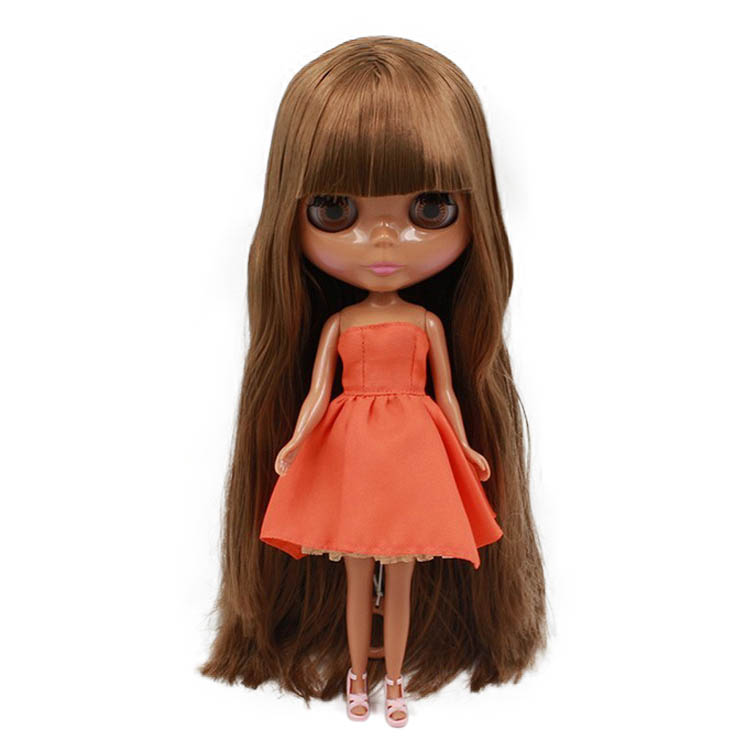 Blyth Doll 30cm nude doll Normal Body Brown Straight Hair Dark Skin With Bangs 1 6