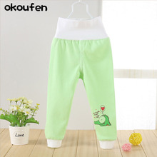 The spring and autumn period the baby tall waist protect his pants Baby cotton for men women children long