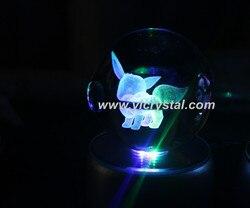 New Design Eevee Good Quanlity K9 Crystal Pokemon Ball With Led Light Base Pokemon Poke Ball