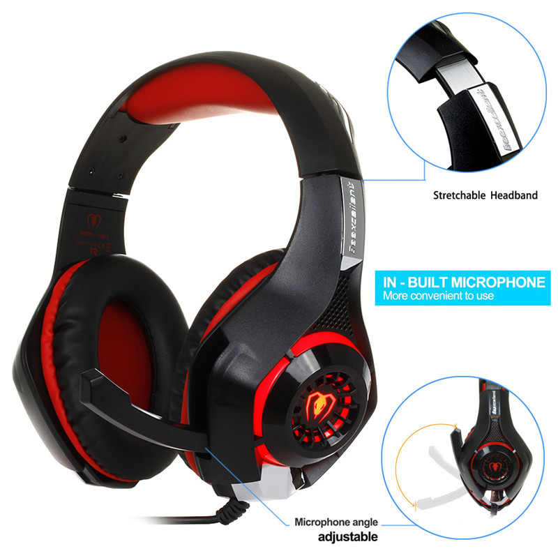 Beexcellent GM-1 Gaming Headphone with Mic LED Light Stereo Game Headset 3.5MM Wired USB Headband Headphones For PC/PS4 Gamers