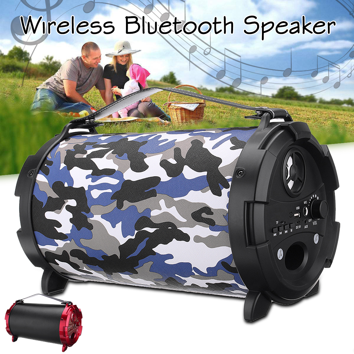 10W Outdoor Portable Hifi Bluetooth Speakers Wireless Bass Subwoofer Loundspeaker FM Radio TF Card/USB/AUX Stereo with Mic s309 diy wooden bluetooth speaker portable fm radio pc usb aux tf card speakers stereo bass sound box for computer android ios