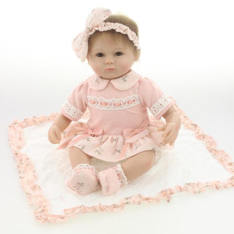 """Силиконовые возрождается ребенка куклы игрушки для девочки, реалистичные 18 """"reborn детские играть дома игрушки дети ребенок подарок на день рождения девочки brinquedos"""