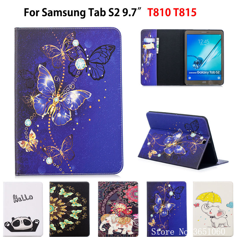 SM-T810 Case For Samsung Galaxy Tab S2 9.7 Inch T810 T813 SM-T815 T819 Smart Case Funda Tablet Fashion Butterfly Stand Shell