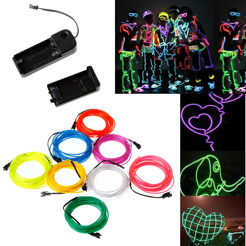 Online Shop White Flexible Neon Light EL Wire Rope Tube with ...