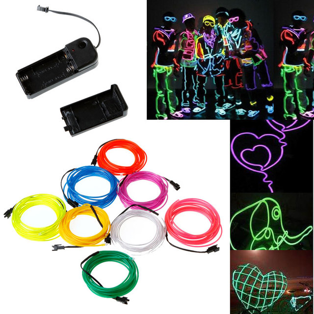 White Flexible Neon Light EL Wire Rope Tube with Controller ...