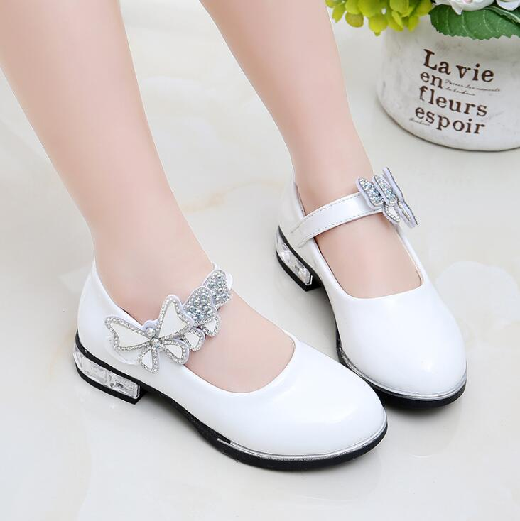 2019 Girls Princess Shoes New Brand Spring Leather Children Wedding Shoes High Heels Bowknot Dancing Kids Dress Shoes