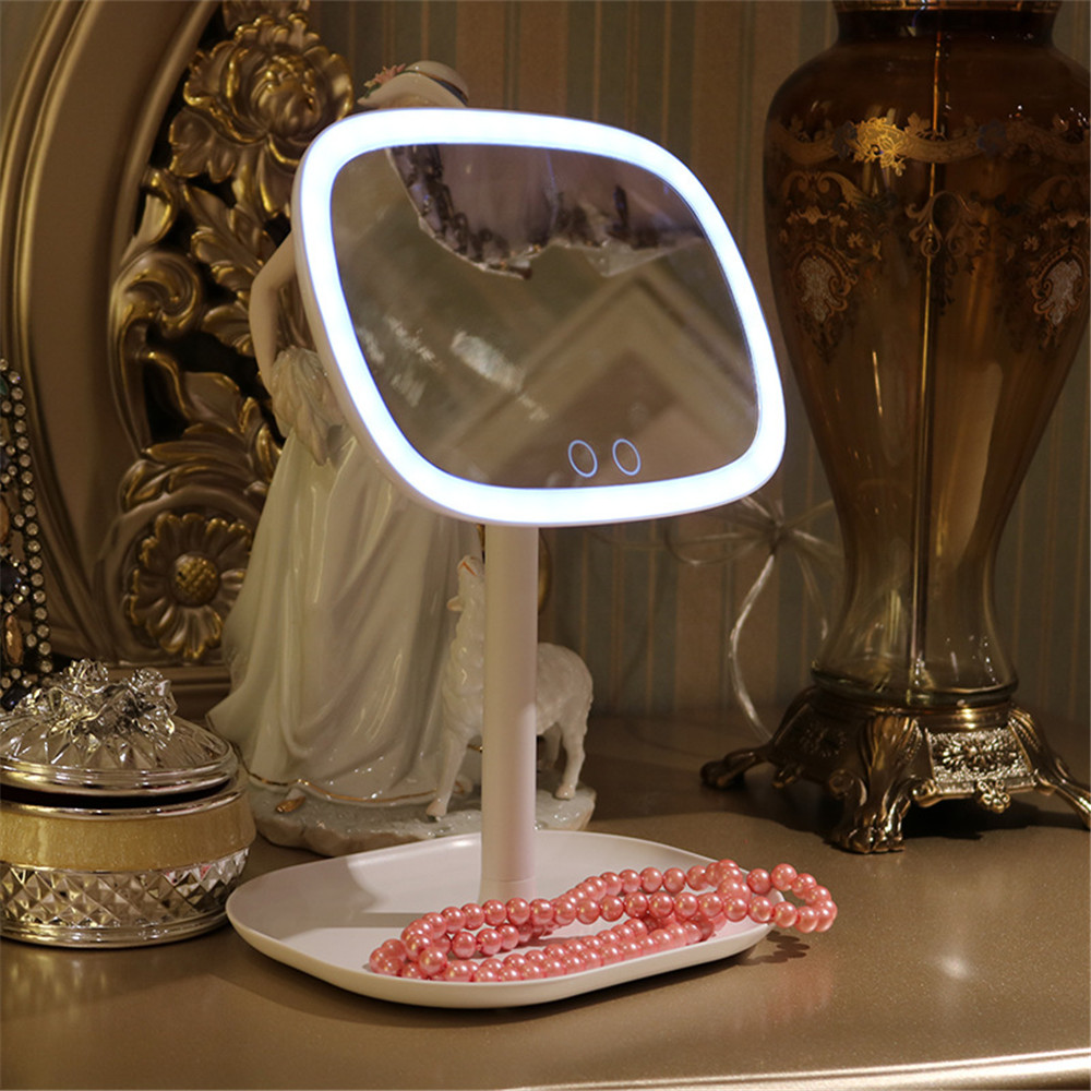 47 LED Vanity Lights 360 Rotating Desktop Mirror Touch Screen Makeup Professional   Beauty Adjustable Countertop