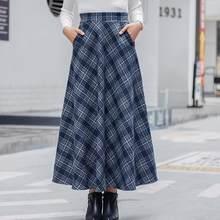 13a8513981 Vintage Plaid Long Skirt For Women Streetwear Zipper Elastic High Waist  Pocket Woolen Skirts 2019 Winter DF939