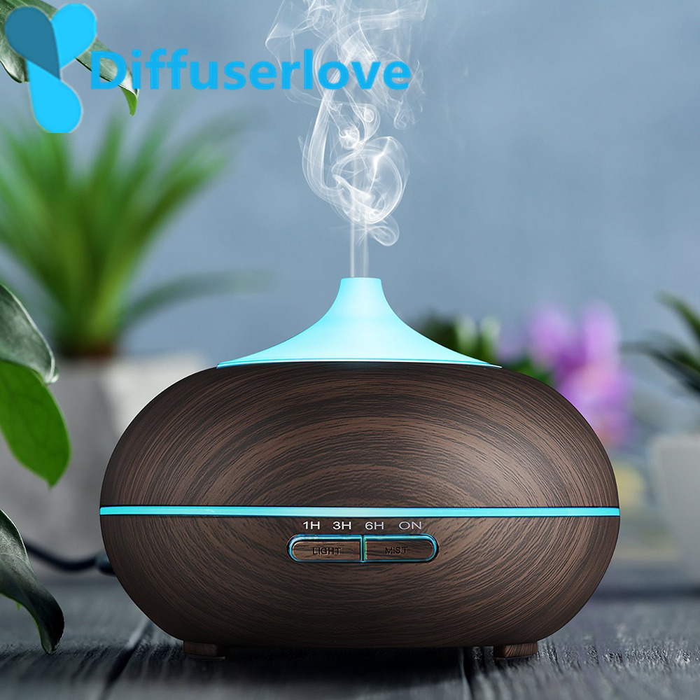 Difusor de aceite esencial difusor ultrasónico Usb de grano de madera 300 ml humidificador de niebla fresco difusor para dormitorio de oficina
