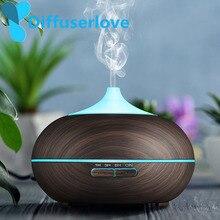 Nawilżacz generujący chłodną mgiełkę Diffuserlove 300ml ziarno drewna Usb ultradźwiękowy, aromatyczny olejek eteryczny dyfuzor do biura sypialnia salon